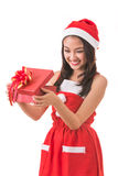 Beautiful Asia woman wear Santa Clause costume Stock Image