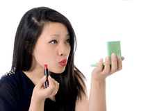Beautiful asian american woman and red lipstick Royalty Free Stock Image
