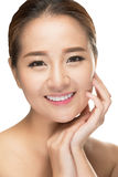 Beautiful Asian beauty woman touching perfect skin Stock Photo