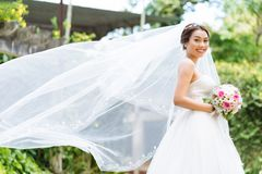 Beautiful Asian bride. With her long veil fluttering in the wind Royalty Free Stock Photos