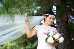 Beautiful asian bride. Outdoor portrait of a beautiful asian bride Royalty Free Stock Image