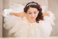 Beautiful asian bride view from above Stock Photo