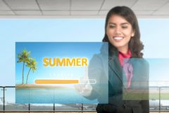 Beautiful asian business woman choose for taking vacation stock images