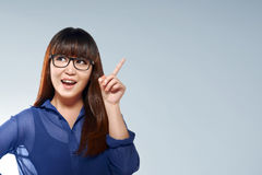 Beautiful asian business woman with thinking face expression Royalty Free Stock Images
