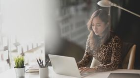 Free Beautiful Asian Businesswoman Working On Her Project While Typing On Laptop Computer Stock Photography - 157439752