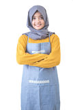 Beautiful Asian cafe owner with hijab Stock Images