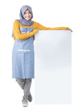 Beautiful Asian cafe owner holding blank white board Stock Images