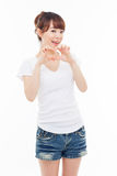 Beautiful Asian casual woman show heart shape. Stock Photos