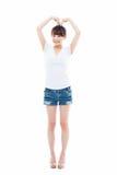 Beautiful Asian casual woman show heart shape Royalty Free Stock Photography