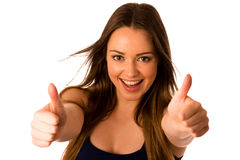 Beautiful asian caucasian woman gesturing success showing thumb Royalty Free Stock Images