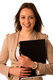 Beautiful asian caucasian woman holds a folder Stock Photo