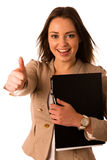 Beautiful asian caucasian woman holds a folder showing thumb up Stock Photos