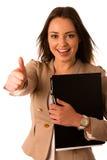 Beautiful asian caucasian woman holds a folder showing thumb up Stock Photos