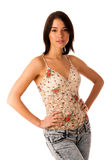 Beautiful asian caucasian woman in jeans and short summer shirt Royalty Free Stock Image