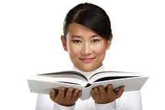 Beautiful asian chinese girl showing a blank book Royalty Free Stock Photos