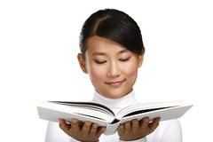 Beautiful asian chinese girl showing a blank book Stock Photos