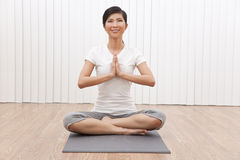 Beautiful Asian Chinese Woman In Yoga Position Stock Photos