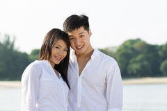Beautiful Asian couple on the beach Stock Image