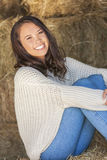 Beautiful Asian Eurasian Girl Woman Sitting on Hay Bale Royalty Free Stock Photography