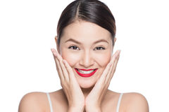 Beautiful asian face with glamour bright makeup Royalty Free Stock Images