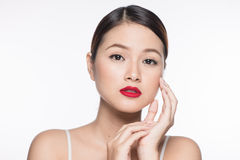 Beautiful asian face with glamour bright makeup Royalty Free Stock Photography