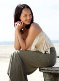 Beautiful asian female model smiling outdoors Royalty Free Stock Photos