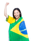 Beautiful asian female soccer supporter Royalty Free Stock Images