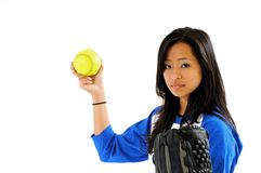 Beautiful Asian female softball player Royalty Free Stock Images