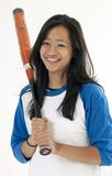 Beautiful Asian female softball player Royalty Free Stock Photo