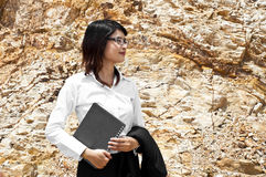 Beautiful Asian geologist woman. Royalty Free Stock Image