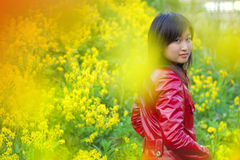 Beautiful asian girl. In red outdoors Royalty Free Stock Images
