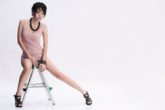 Beautiful asian girl. A beautiful asian girl portrait on white background Stock Photo