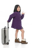 Beautiful asian girl with  baggage and hand sign Royalty Free Stock Image