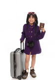 Beautiful asian girl with  baggage,holding passport Royalty Free Stock Photos