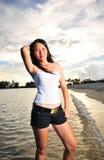 Beautiful Asian Girl at the Beach stock photo