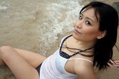 Beautiful Asian girl on the beach Stock Photo