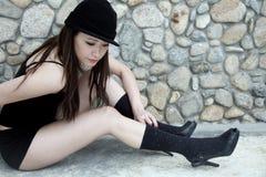Beautiful Asian girl in black Stock Image