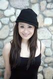 Beautiful Asian girl in black Stock Photo