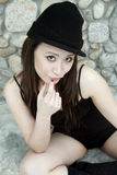 Beautiful Asian girl in black Stock Photography