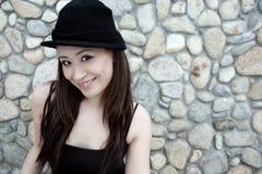Beautiful Asian girl in black Royalty Free Stock Photos
