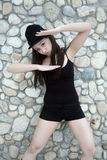 Beautiful Asian girl in black Stock Images