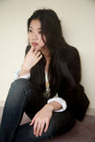 Beautiful Asian girl in black Royalty Free Stock Photo