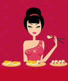 Beautiful Asian girl enjoy sushi Stock Images