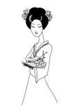 Beautiful Asian girl enjoy sushi Royalty Free Stock Photo