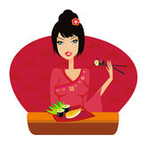 Beautiful Asian girl enjoy sushi Stock Photography