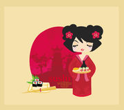 Beautiful Asian girl enjoy sushi Stock Image
