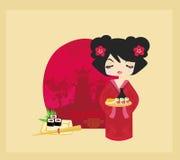 Beautiful Asian girl enjoy sushi Stock Image