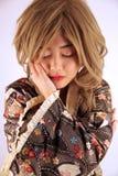 Beautiful Asian girl. Feeling sad royalty free stock photo