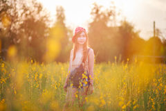 Beautiful asian girl in the field Stock Image