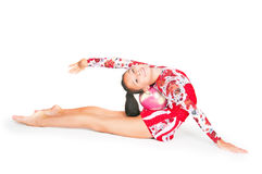 Beautiful Asian girl gymnast with a ball Royalty Free Stock Photo